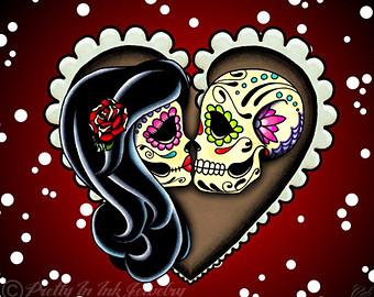 Sugar Skull clipart heart Couple of sugar Kissing Art