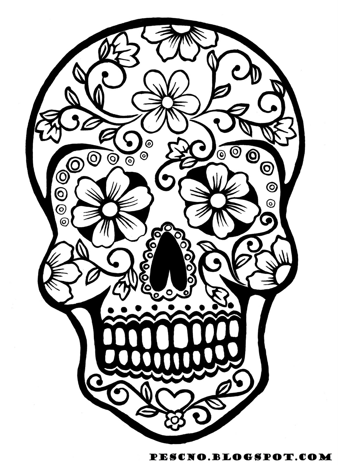 Day Of The Dead clipart coloring sheet På skull coloring sugar print