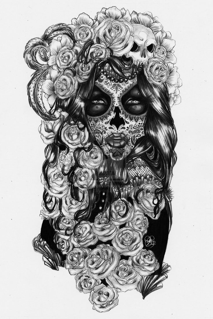 Sugar Skull clipart mexican lady Tattoos Pinterest Girl and tattoos