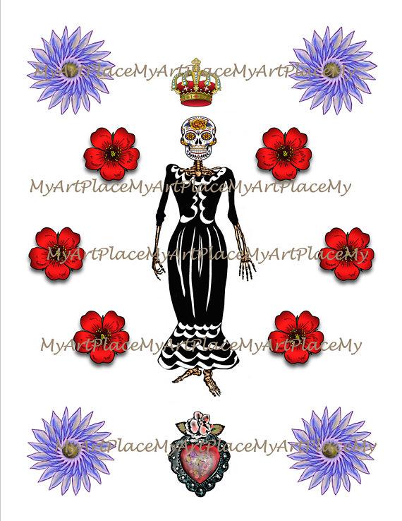Sugar Skull clipart mexican lady De  Clip the Mexican