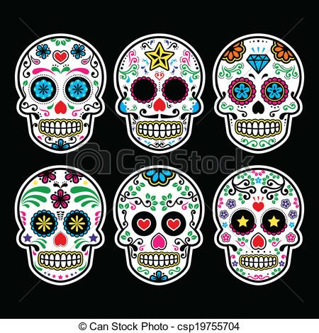 Sugar Skull clipart pattern Of skull csp19755704 set sugar