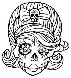 Drawn skeleton dia de los muertos More sheet girl Find coloring
