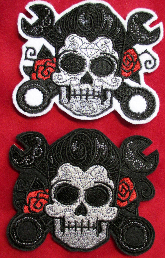 Sugar Skull clipart rockabilly Skull Sugar with Embroidered ElsieMichelleDesigns