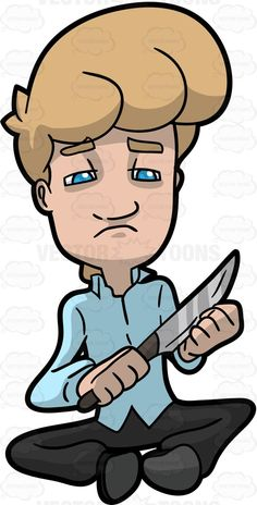 Suicide clipart weak man A With Himself By Knife