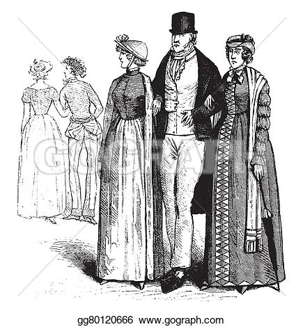 Drawn caricature fashion Pittoresque the suit of Illustration