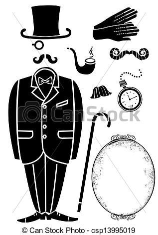 Suit clipart gentleman Gentleman Accessories isolated Vector symbol