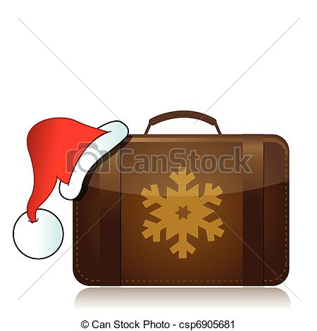 Vacation clipart suitcase Clip Art Christmas Vector concept