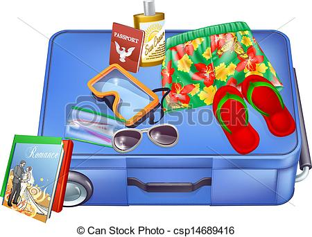 Vacation clipart suitcase Clip Art Suitcase Vector items