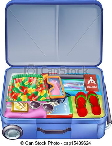 Vacation clipart suitcase Illustration of Full Vector