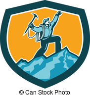 Summit clipart mountain trekking   Climber Reaching Illustration