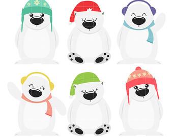 Skiing clipart polar bear Polar drawing Making Card Etsy