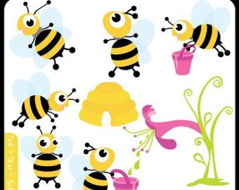 Honey clipart vector Art Etsy Baby bee ORIGINAL