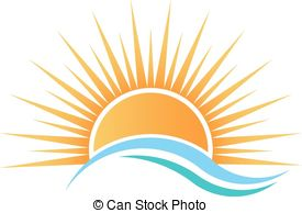 Sunrise clipart Illustration Stock waves  over