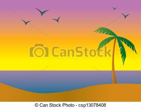 Caribbean clipart sunrise beach Sundown in Island beach Beach