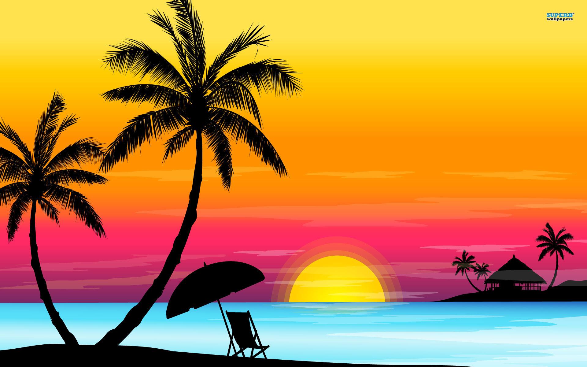 Tropical clipart ocean sunset #3