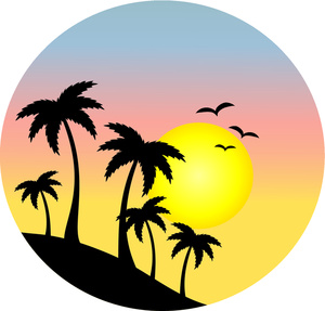 Palm Tree clipart setting sun Clipart sunset sunset clipart Florida