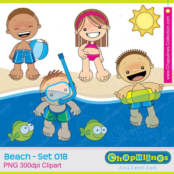Vacation clipart kid beach 018 girl Set  spring