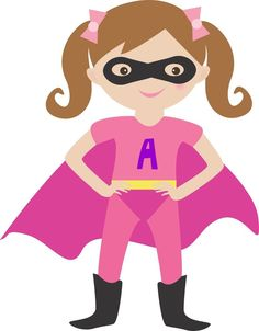 Pink clipart superhero SuperheroClipart Girls art digital wall