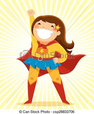 Super Girl clipart cartoon Vector costume  a girl