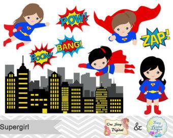 Super Girl clipart cartoon Digital Supergirl clipart Superheroes Clip