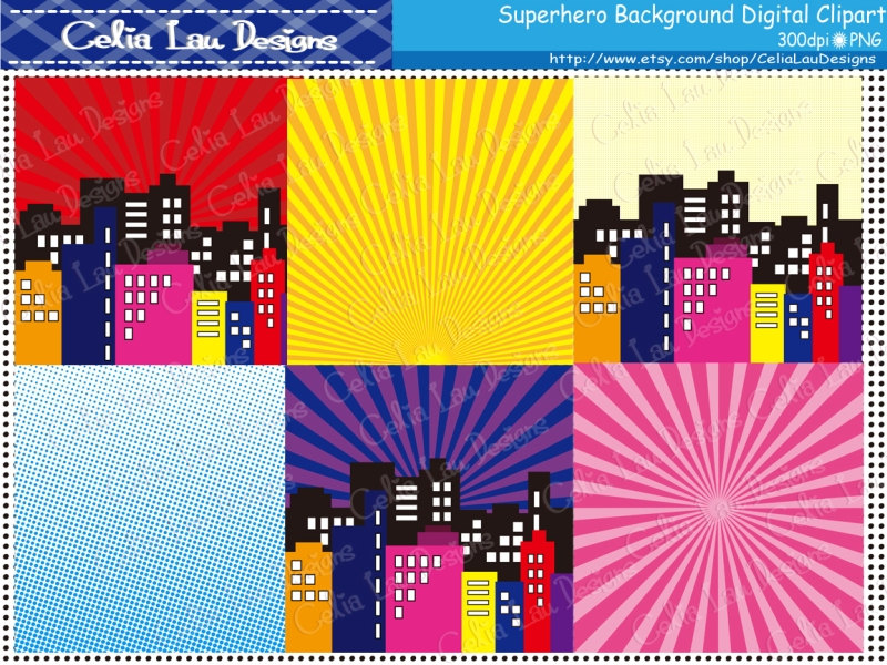 Building clipart comic book Digital clipart book hero Superhero
