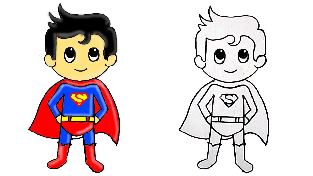 Drawn superman cartoon character Draw YouTube Superhero Cute by