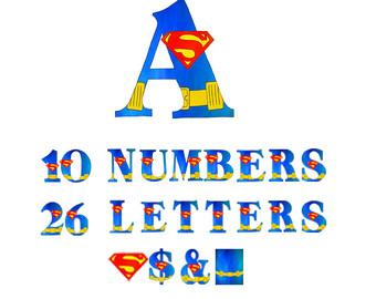 Superman clipart letter Alphabet art Alphabet Scrapbooking Etsy