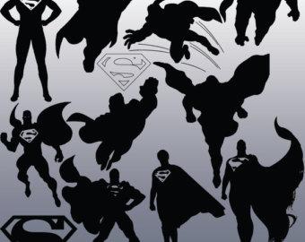 Superman clipart silhouette Instant Silhouette Clipart 12 Design