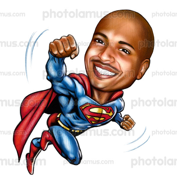 Superman clipart superhero body Caricatures Drawing Portraits and Superhero