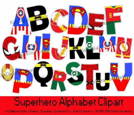 Typeface clipart cartoon KidsDigitalDownloads Alphabet op Etsy Superhero