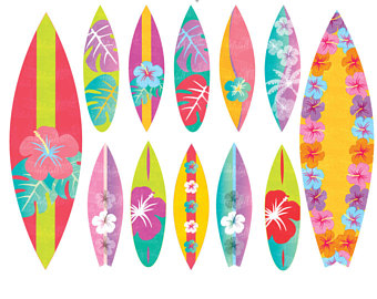 Surfboard clipart floral #5