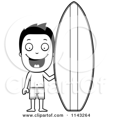 Surfboard clipart outline #6