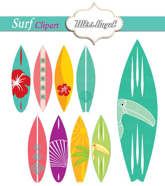 Pink clipart surfboard Digital Surfboards Shells Summer Clipart