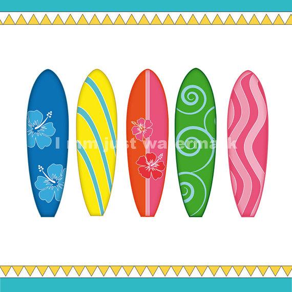 Surfboard clipart vector  Clipart design card for