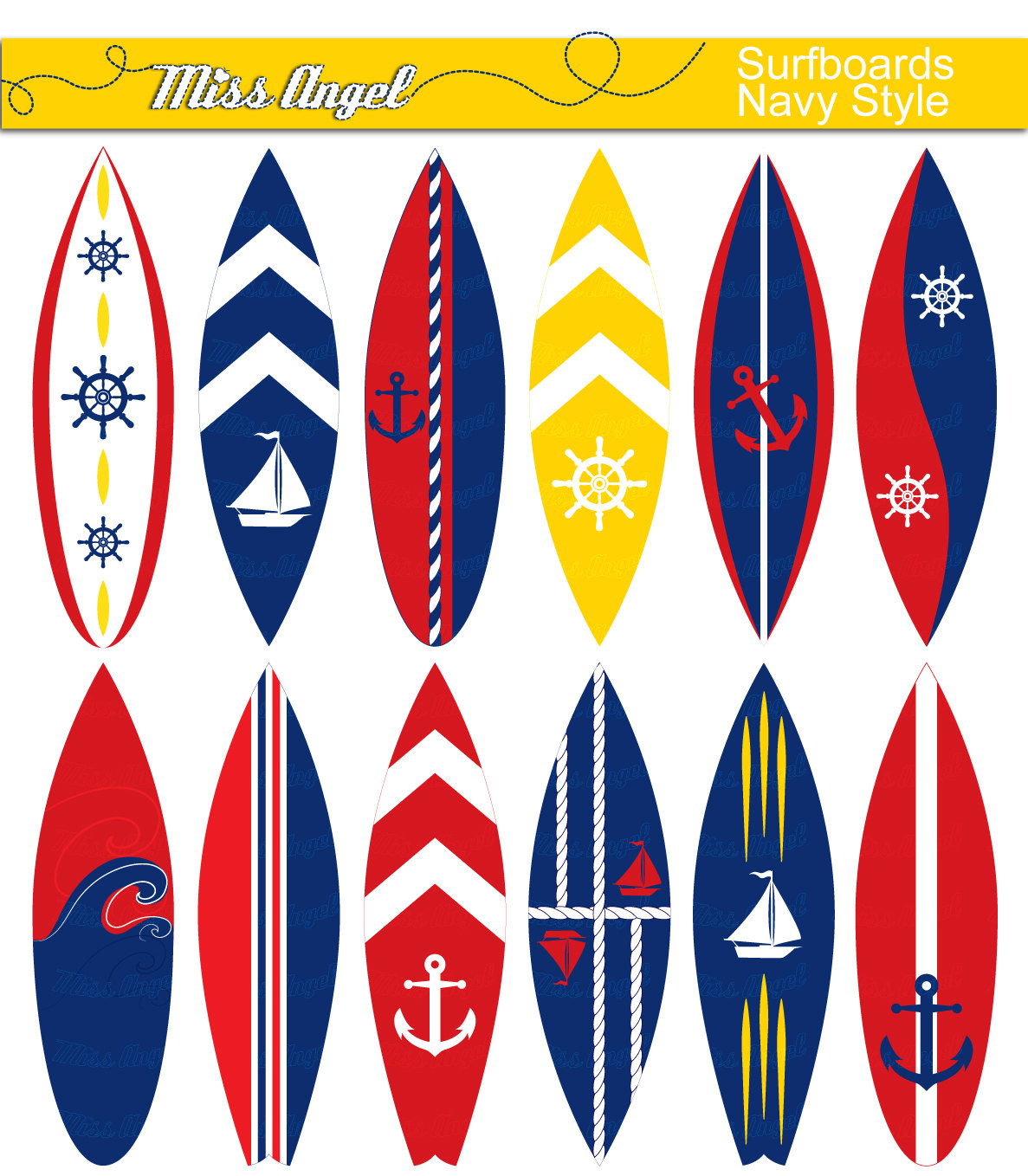 Blur clipart surfboard Red Navy this surfboard clip