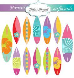 Surfboard clipart summer beach ART Beach Surfboards CLIP 12