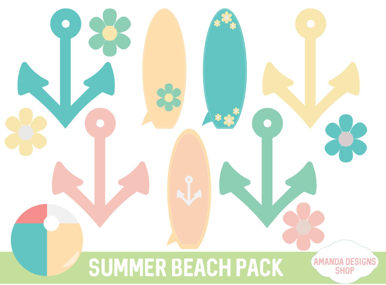 Surfboard clipart summer beach Digital flower a file personal