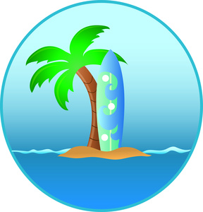 Surfboard clipart tropical palm tree #12