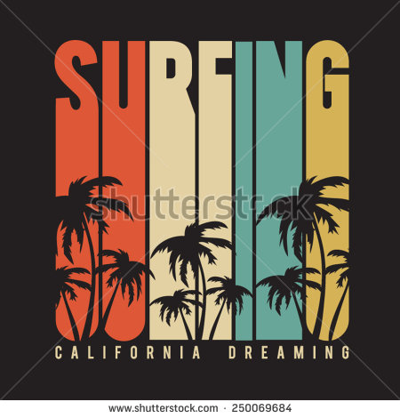 Surfer clipart california Surf typography vectors stock vectors