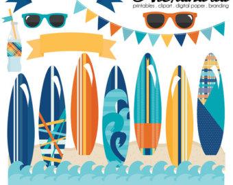 Surfboard clipart summer beach Clipart Summer Digital Personal Surfer