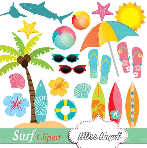 Surfboard clipart summer beach Art Summer Hibiscus from Clipart