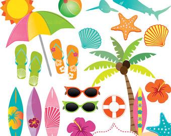 Surfboard clipart summer beach  Summer Hibiscus Surf Clipart