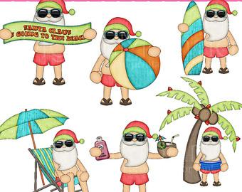 Surfer clipart santa Free on Art Beach Clip