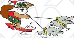 Surfer clipart santa Illustration Holding And Dolphins To