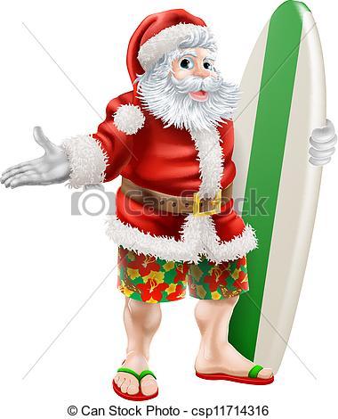 Surfer clipart santa Claus  illustration  surfing
