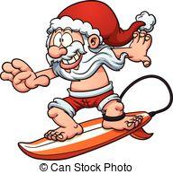 Surfer clipart santa Santa  is  Claus