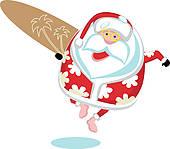 Surfer clipart santa Free Surf Art Santa Santa