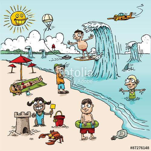 Surfer clipart summer activity Beach Cartoon including sunny building