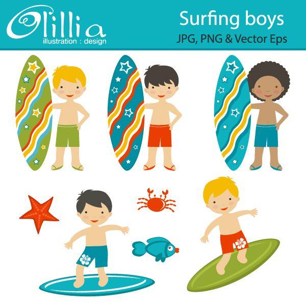 Surfboard clipart kid #1