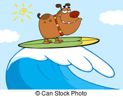 Surfing clipart Vician4/402; Happy Dog Surfing free